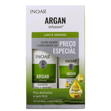 Kit Inoar Argan Infusion Liso e Sedoso Shampoo 500ml e Condicionador 250ml