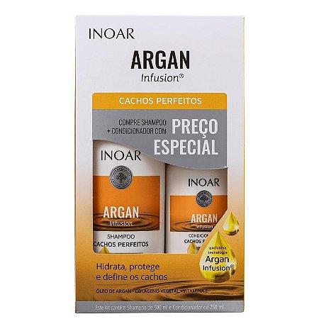 Kit Inoar Argan Infusion Cachos Perfeitos Shampoo 500ml e Condicionador 250ml