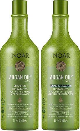 Kit Inoar Argan Oil Shampoo de Hidratação e Bálsamo Condicionador 1 litro (cada)