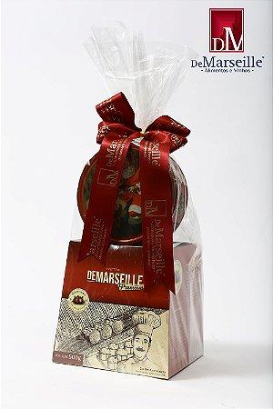 Panettone Premium com Gotas de Chocolate + Lata de Biscoitos Papai Noel