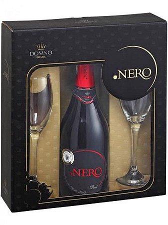 Kit Ponto Nero Espumante Rosé Brut com 2 taças de vidro