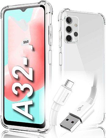 Capa Anti Shock Samsung Galaxy A32 4G + Pelicula de Vidro 3d + Cabo Carregador