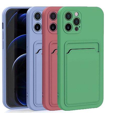 Capa Silicone com Porta Cartão para IPhone 12