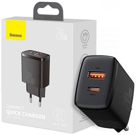 Carregador de Parede Baseus 20w USB + Tipo-C