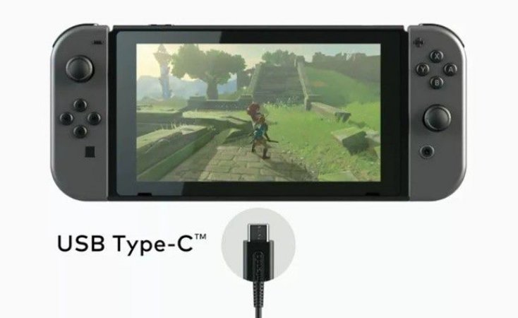 Cabo Carregador Nintendo Switch Usb Type-C em Nylon