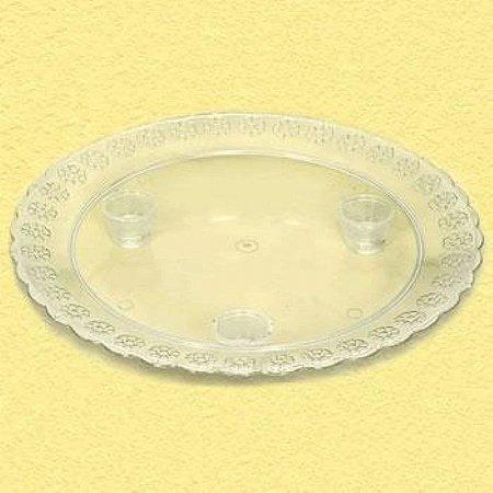 Tabuleiro Acrilico Redondo 320mm Cristal unid