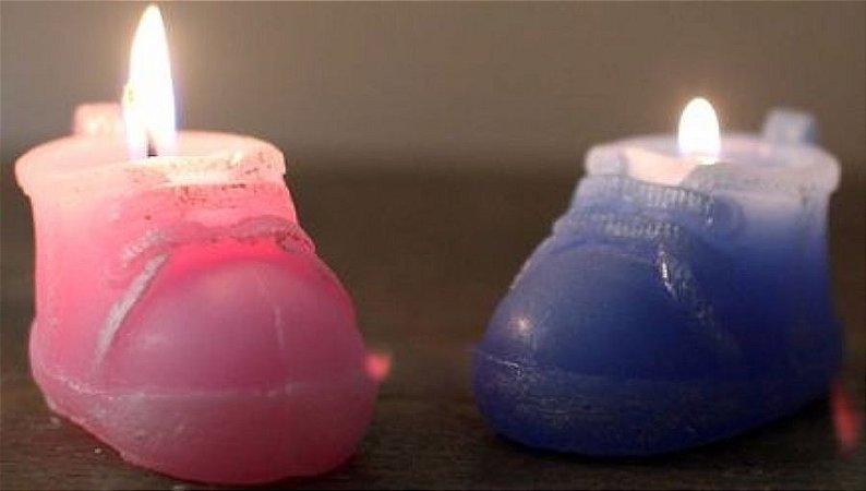 vela decorativa sapatinho rosa bebe (par)