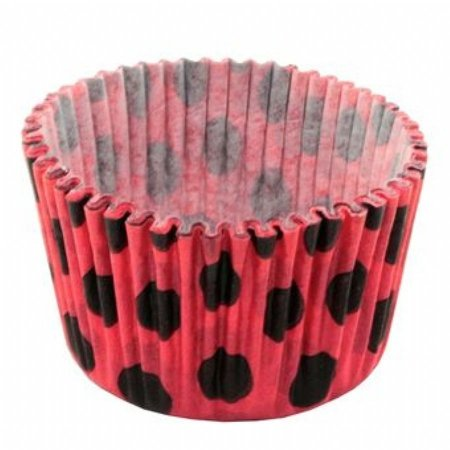 Forma papel Mini Cupcake Vermelho/preto (poá) c/45unids