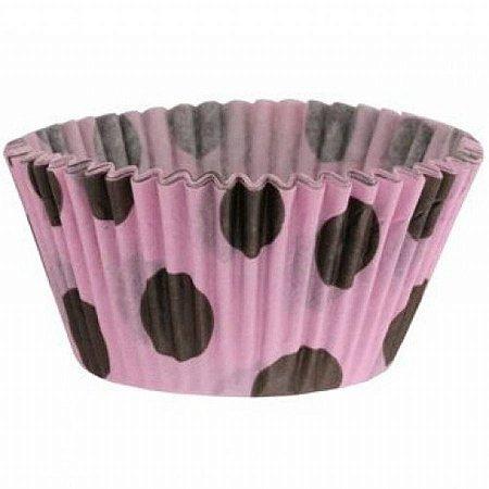 Forma papel Mini Cupcake Rosa/marrom c/45 unids