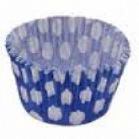 Forma papel Cupcake Azul escuro/bco (poá) c/45 unids