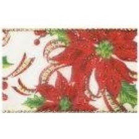 Fita decorada aramada 3,8cmx10mts Bca/Verm/ouro (natal) unid