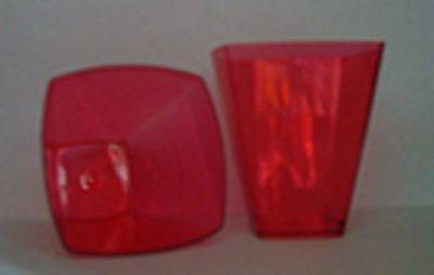 Copo Acrilico 51ml Quadrado Vermelho c/10 unids