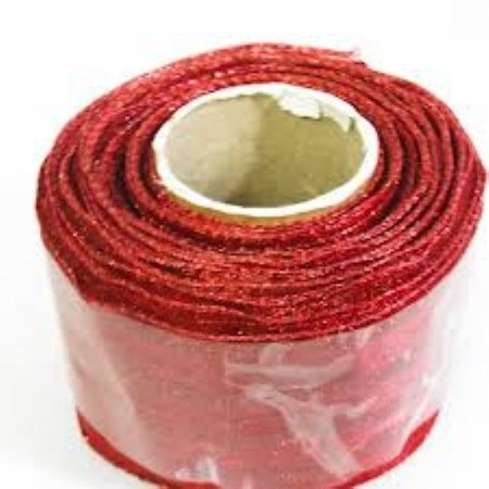 Fita Decorada Aramada 3,8cmx10mts Vermelho bolas gliter (natalina) unid