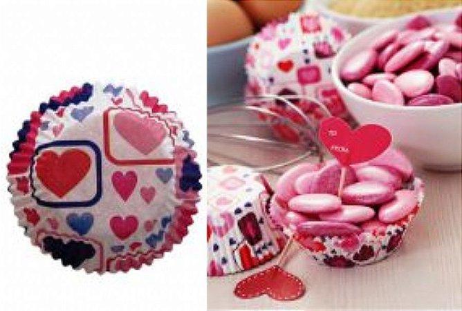 Forma papel Mini Cupcake Coração c/45 unids