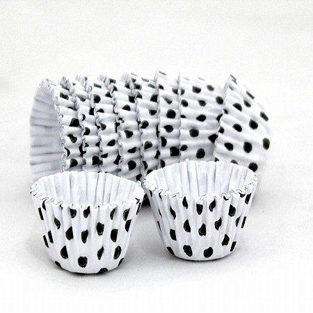 Forma papel Cupcake Bco/preto (poá) c/45 unids (consultar disponibilidade antes da compra)