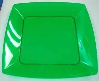 Prato Acrilico 21x21cm Square Verde 10 unids