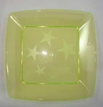 Prato Acrilico 21x21cm Square Amarelo 10 unids