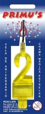 Vela Acrilica nº7 Amarela unidade (consultar disponibilidade na loja)