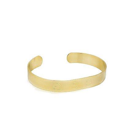 Bracelete Chapa Com Círculos Estampados