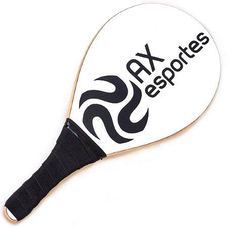 Raquete de Frescobol de Madeira Laminada AX Esportes Power Branco