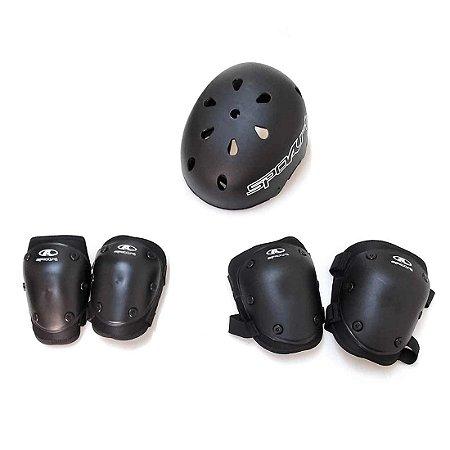 Kit Proteção Skate/Patins com Joelheira-Cotoveleira-Capacete Adulto