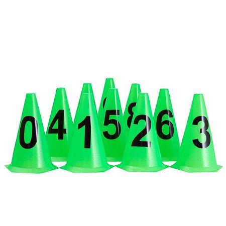 10 Cones NUMERADOS 24cm p/ Treinamento AX Esportes Limão