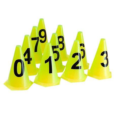 10 Cones NUMERADOS 24cm p/ Treinamento AX Esportes Amarelo