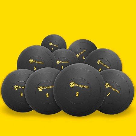 Set c/ 9 Bolas Medicine Ball Kick Borracha  1-9Kg AX Esportes