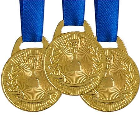 Pack c/ 10 Medalhas AX Esportes 35mm Honra ao Mérito Douradas-FA466-431