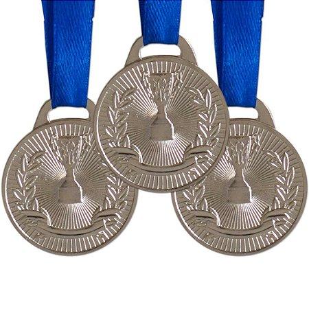 Pack c/ 10 Medalhas AX Esportes 35mm Honra ao Mérito Prateada-FA466