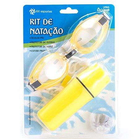 Kit Óculos Natação c/ Porta Moeda AX Esportes Ad Amarelo - OA419