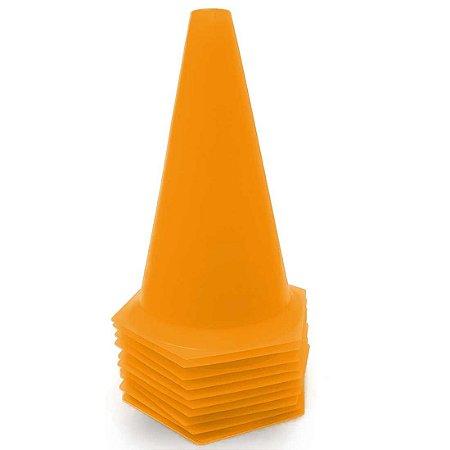 10 Cones 23cm Rígidos p/ Treinamento AX Esportes Laranja