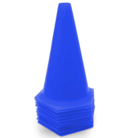 10 Cones 23cm Rígidos p/ Treinamento AX Esportes Azul