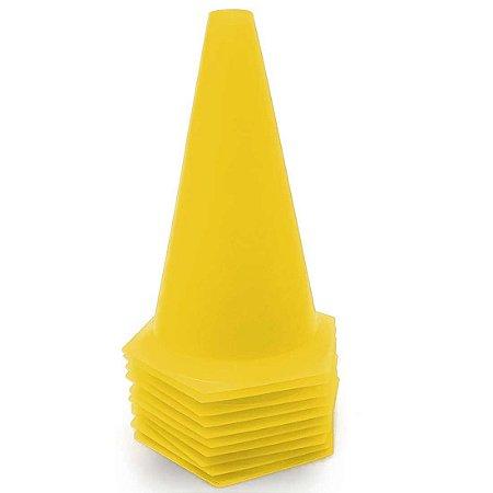 10 Cones 23cm Rígidos p/ Treinamento AX Esportes Amarelo