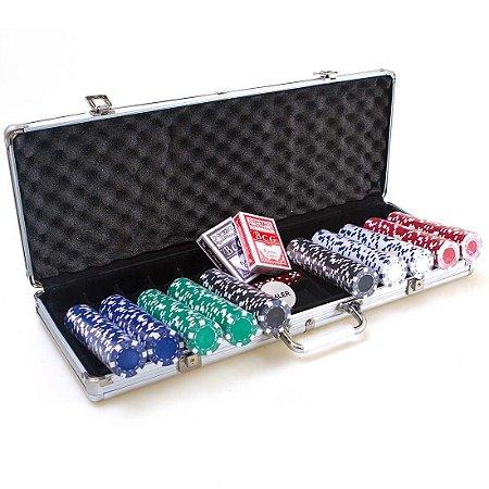Maleta de Poker AX Esportes 500 Fichas 2 Baralhos e Dados-Y343