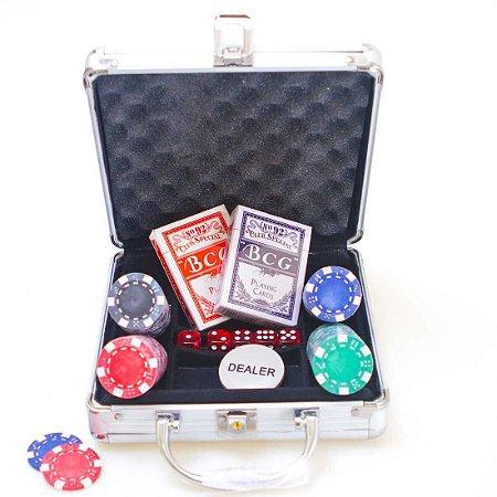 Maleta de Poker AX Esportes 100 Fichas 2 Baralhos e Dados-Y340