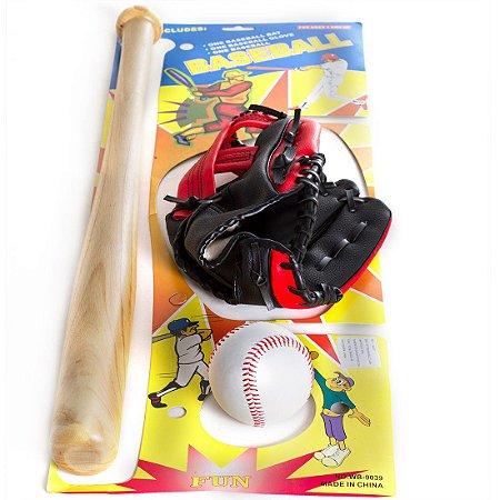 Kit Taco De Baseball em Madeira e Bola e Luva YW274