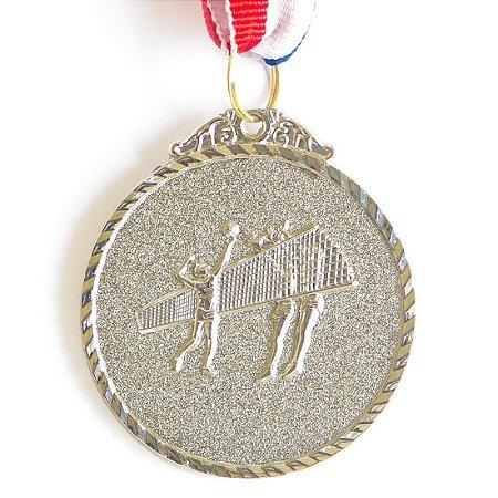 Medalha AX Esportes 50mm Vôlei Alto Relevo Prateada - Y224P