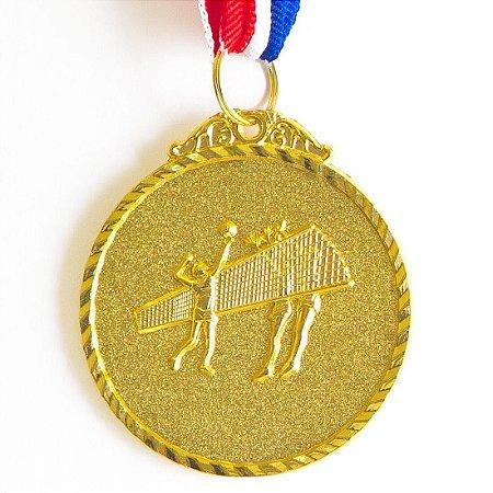 Medalha AX Esportes 50mm Vôlei Alto Relevo Dourada - Y224D