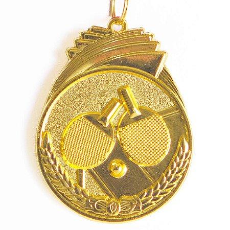 Medalha AX Esportes 50mm T. Mesa Alto Relevo Dourada - Y226