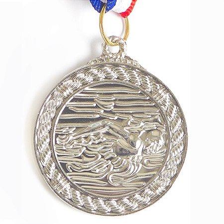 Medalha AX Esportes 50mm Natação Alto Relevo Prateada - Y230P