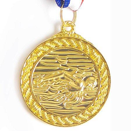 Medalha AX Esportes 50mm Natação Alto Relevo Dourada - Y230D