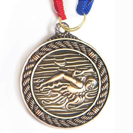 Medalha AX Esportes 50mm Natação Alto Relevo Bronzeada - Y230B
