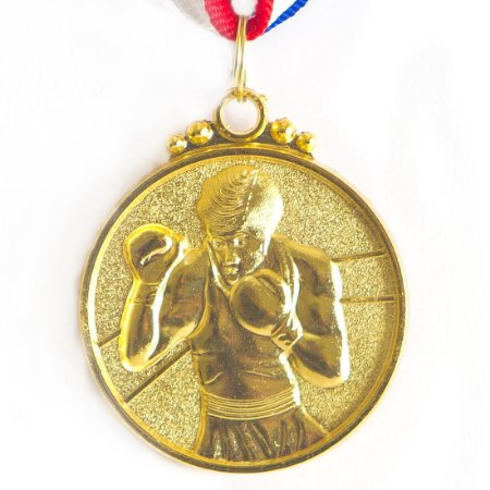 Medalha AX Esportes 50mm Boxe Alto Relevo Dourada - Y221