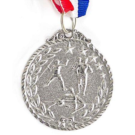 Medalha AX Esportes 50mm Atletismo Alto Relevo Prateada - Y225P