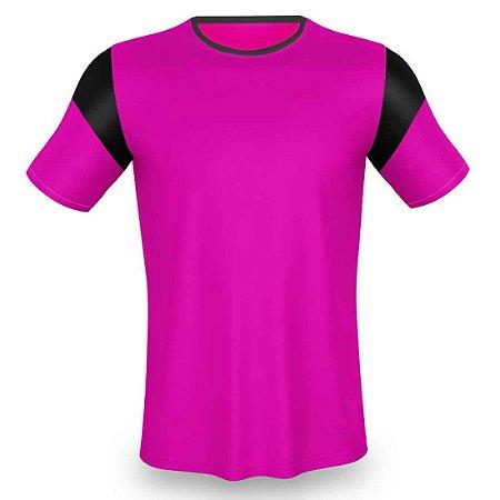 Jogo de Camisa p/ Futebol AX Esportes Rosa com Preto - 14+1 Numeradas