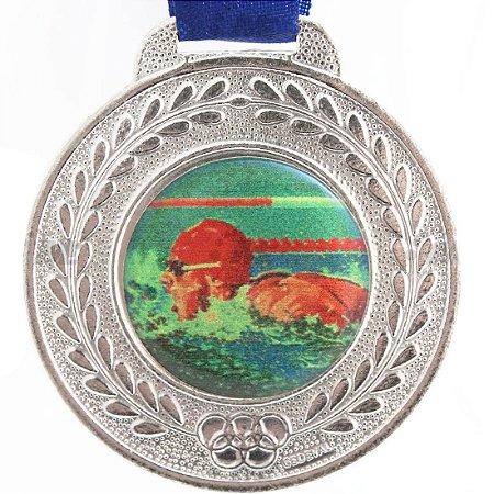 Medalha Resinada Redonda Natação 42mm Prateada (Contém 02 unids.)