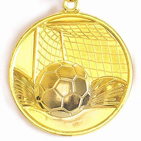 Medalha Gigante AX Esportes 64mm Futebol em Alto Relevo 3D Dourada - FA489 (Pç)
