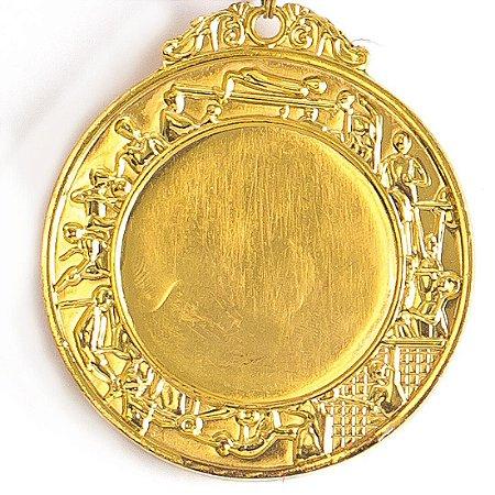 Medalha Gigante AX Esportes 64mm Dupla Face Dourada - FA474 (Pç)