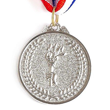 Medalha AX Esportes 50mm Honra ao Mérito em Alto Relevo Prateada - FA480